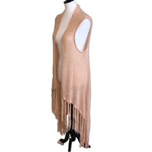 Do Everything In Love Pale Pink Long Fringed Vest